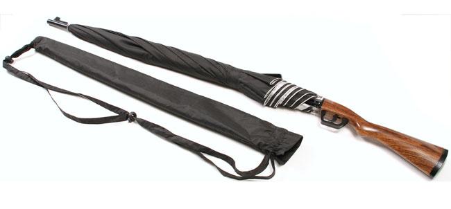 トリガーを引くとカサが開く!ライフル銃デザインのユニーク傘。